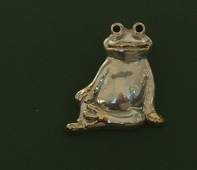 Lovely Vintage Frog Pendant In Silver&gold Tone Metal