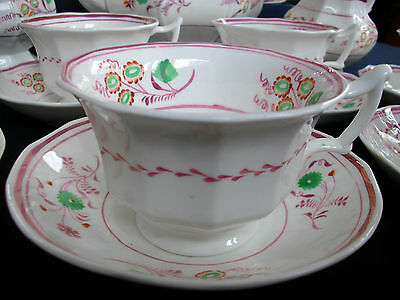 PINK LUSTRE GOTHIC 1840's ENGLAND- CUP & SAUCER(s)- BAT WING! FLORAL! EXCELLENT!