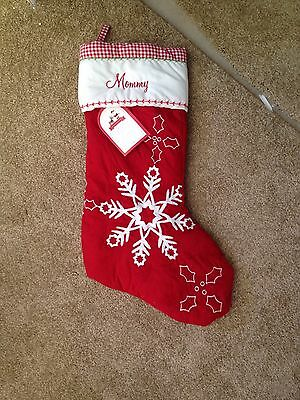 """New! Pottery Barn Kids Quilted CHRISTMAS STOCKING Snowflakes """"Mommy"""""""