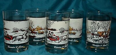 4- Currier & Ives Collector's Series Arby Holiday Christmas Highball Glasses