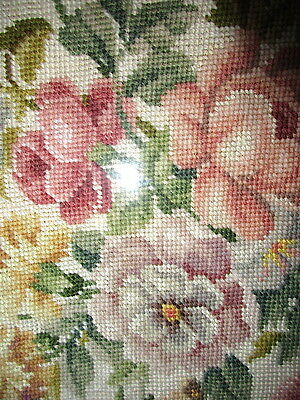 Needlepoint Flowers Picture Wall Hanging Large Floral Embroidery COMPLETE