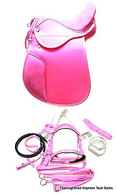"""D.A. Brand 12"""" Pink Synthetic 6 Piece English Saddle Set Horse Tack Equine"""
