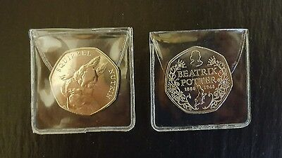 2 x Beatrix Potter Uncirculated 50p Coins 150th Anniversary And Squirrel Nutkin
