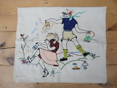 Embroidered Cushion Cover Mixed Threads Texture Boy And Girl On Picnic PMC 1994