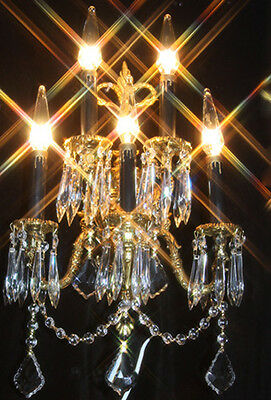 1 sconce 5lLT crystal prisms Bow top Vintage Gilt Bronze Brass FRENCH Spain