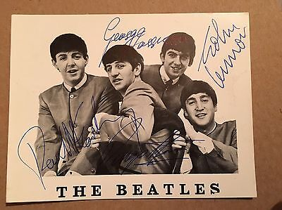 BEATLES PHOTO CARD All 4 Signatures Hand signed By Road Manager Neil Aspinall