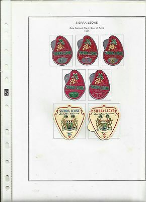 Sierra Leone 1965 Cola Nut Plant & Coat of Arms. postage stamps.