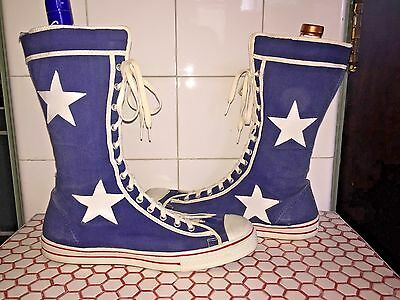 Vintage 1960s 60s Deadstock Flagg Brothers Super High Top Blue Stars Sneakers 11