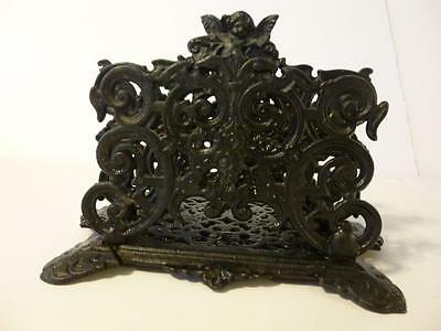 Cast Iron letter holder Black Mail Napkin Victorian style Cupid scrollwork JM111