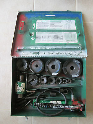 """GREENLEE 7310 Hydraulic Hand Pump Knockout Punch Set 1/2""""- 4"""" Very Good Used Set"""