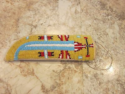 Vintage Antique Native American Plains Beaded Knife Sheath Awesome Work Tribe?