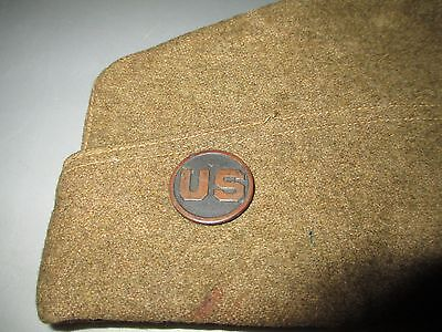 Word War I US Army AEF Overseas Garrison Cap Hat With US Disc