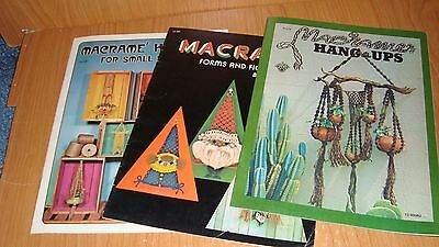 """Lot of 3 magazines on Macrame from the 1970  - all 8-1/2"""" x11""""  VG condition"""