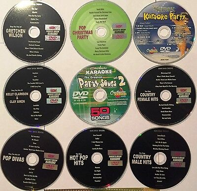 130 Karaoke Songs with and without lead vocal - 9 DVD Disc- Great Quality