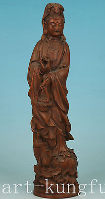 Chinese Old Wood Collection Handmade Carved Kwan-yin Buddha Statue