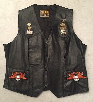 Harley Davidson Leather Vest Women's With Pins and Patches Medium Amarillo TX