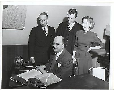 """g263. Rare Photo 1947 CBS-TV """"We Take Your Word"""" Hosts Bryson & Burrows"""