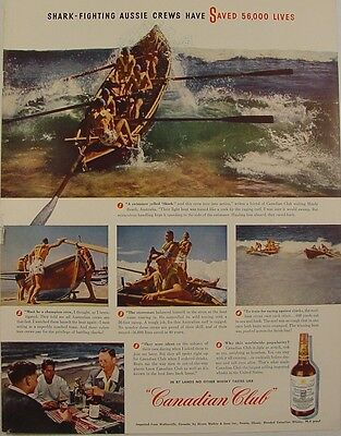 1947 Canadian Club Whisky SHARK Fighting AUSSIES Ad MANLY BEACH Photos