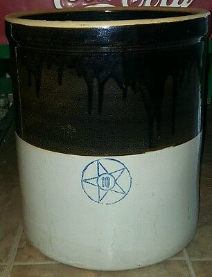 Antique Primitive 10 Gallon Cobalt Star Stoneware Glazed Crock