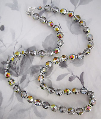 vintage AB faceted glass bead necklace #j6002
