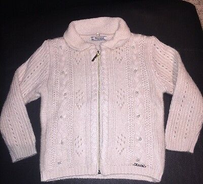 Mayoral 3T Toddler Girls' Ivory Cardigan Full Zip Sweater with Pearls NWOT