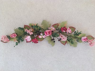 Home Interiors HOMCO NEW Pink Roses and Berries Swag Greenery floral VERY PRETTY
