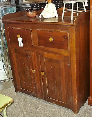 Antique JELLY CUPBOARD Dovetailed Gallery 2 door/drawer Country Cabinet