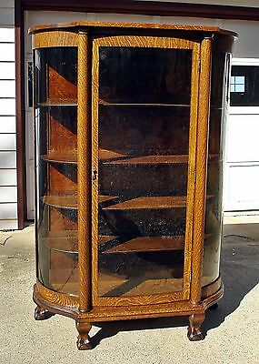 Antique Curved Glass Oak Bow front CHINA CABINET Claw Feet Q-sawn