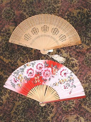 2 Wonderful Old Chinese Fans 1 Hand Painted Paper/Bamboo & Carved Sandalwood Fan