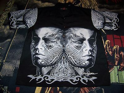 New THE ROLLING STONES Tattoo You Dragonfly Collar Button Dress Bowling Shirt L