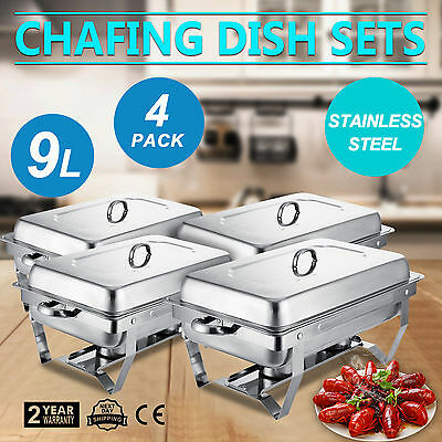Set Of 4 Full Size Rectangular 9 Qt. Stainless Steel Chafing Dish Buffet Tray
