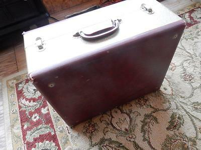 Antique 1950's-1960's Vintage Birch Model Portable Suitcase For Record Player