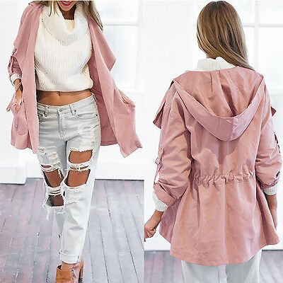 Womens Hooded Long Coat Jacket Trench Windbreaker Parka Outwear Fashion Pink