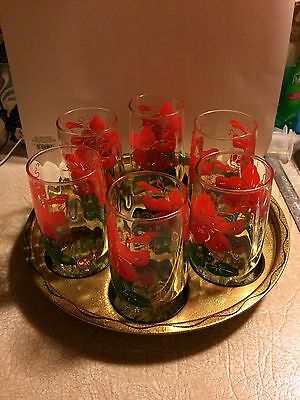 """Vintage Service Tray """"ohio"""" With 6 Drinking Glasses"""