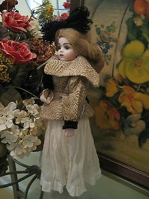 Antique French Bisque Head Doll W/ Fashion Leather Body Petite Bru Bebe Repro