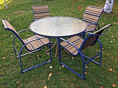 Vintage Heavy Duty Iron Slingback Patio Set Woodard 4 chairs Glass top table