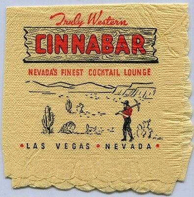 Downtown Las Vegas Nv rare CINNABAR Casino Cocktail Napkin 1950s