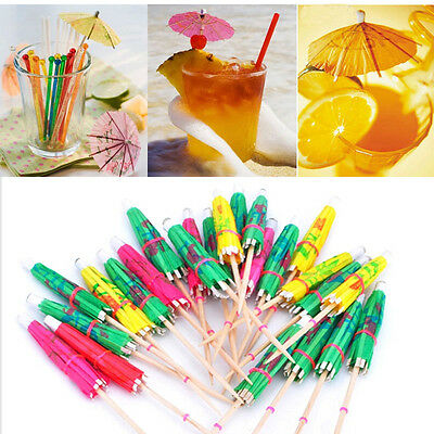 50pcs Tropical Cocktail Drinks Party Umbrellas Cakes Cupcake Dessert Accessories
