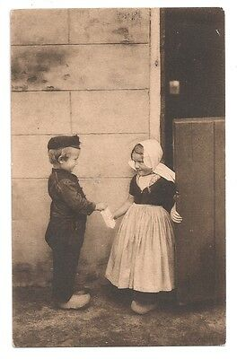vintage you like a sweet postcard 1913 dutch children rppc wood clogs