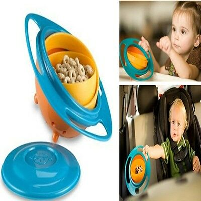 Baby Boys Girls 360 Degree Rotate Spill-Proof Gyro Bowl Dishes + Lid Toys New