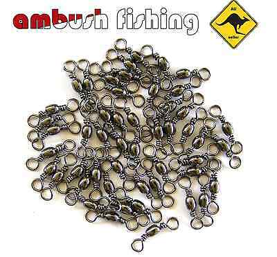 50x BARREL FISHING SWIVELS SIZE #8 / 20kg Black Nickel FISHING TACKLE Whiting