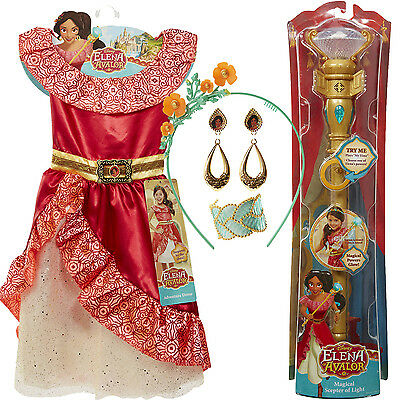 Disney Princess Dress Elena Avalor Magical Scepter Complete Outfit Girls Lot