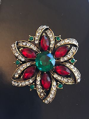 Vintage Signed Weiss  Christmas Poinsettia  Flower Pin Brooch