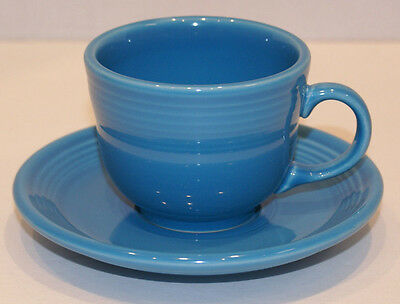 Fiestaware Homer Laughlin Cup And Saucer Peacock Blue Contemporary Coffee Cup