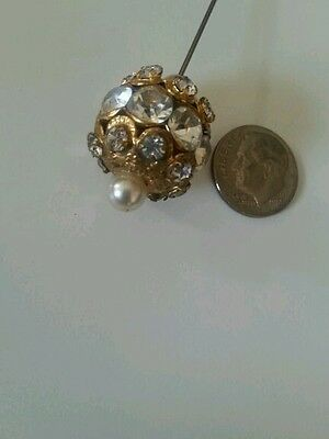"""Vintage Jeweled Gold Hat Pin Round 4""""  Hats Millinery"""