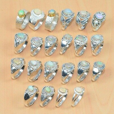 22Pc Wholesale 925 Solid Sterling Silver Natural Welo Ethiopian Opal Ring Lot