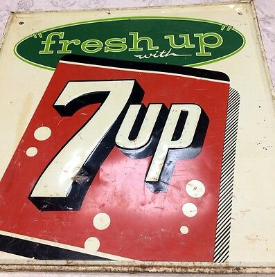 """Vintage 7-up Fresh Up With 7-up Sign 1961 Stout Sign Co 26""""x26"""" USA"""