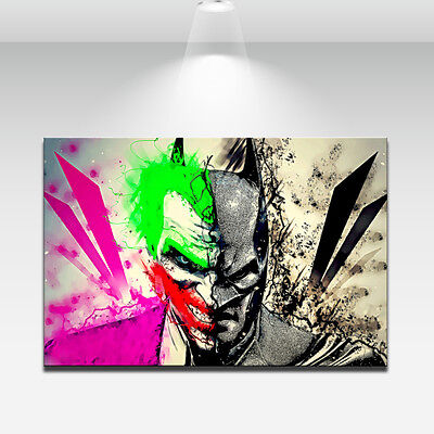 Wall Art Home Decor Caricatures Oil Painting HD Print Batman and Joker on Canvas