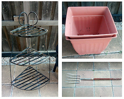 USED Worm Farm 3 Tier Steel Flower Plant Pot Stand Fork RRP $149
