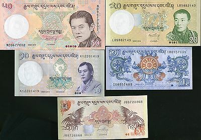Bhutan Set 5 Pcs 1 5 10 20 50 Ngultrum 2011 - 2013 P 27 28 29 30 31 Unc